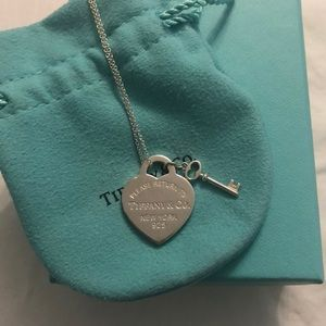 Tiffany Heart Tag with Key Pendant Necklace